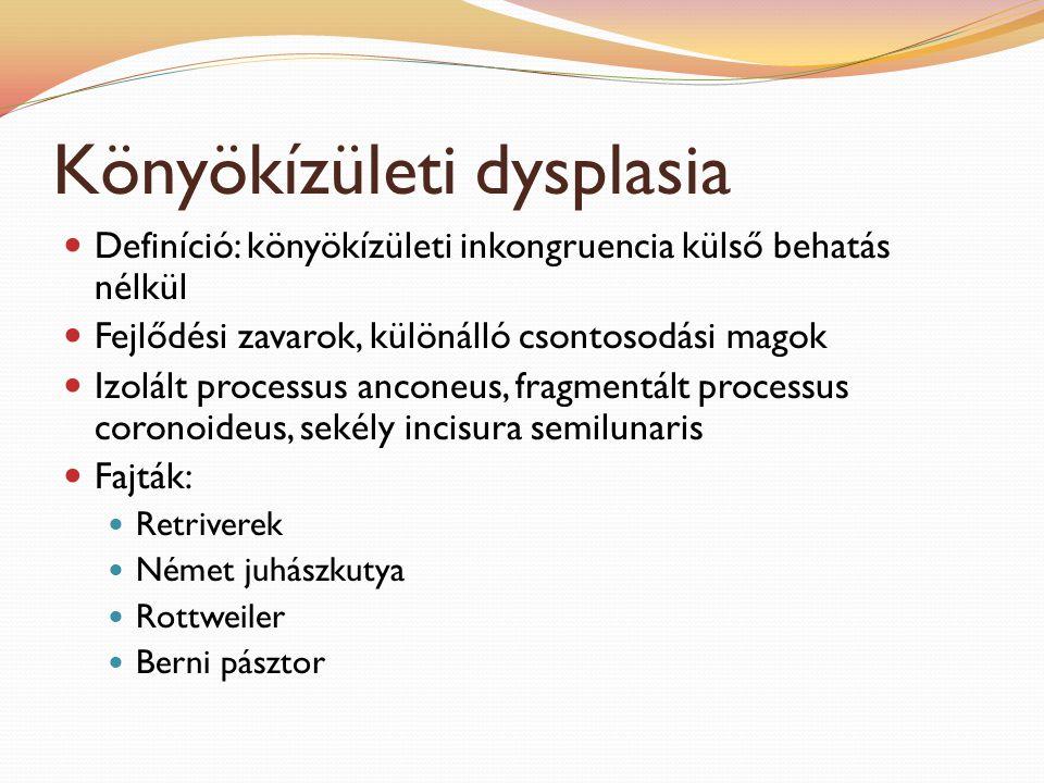 Könyökízületi dysplasia Definíció: könyökízületi inkongruencia külső behatás nélkül Fejlődési zavarok, különálló csontosodási magok Izolált processus