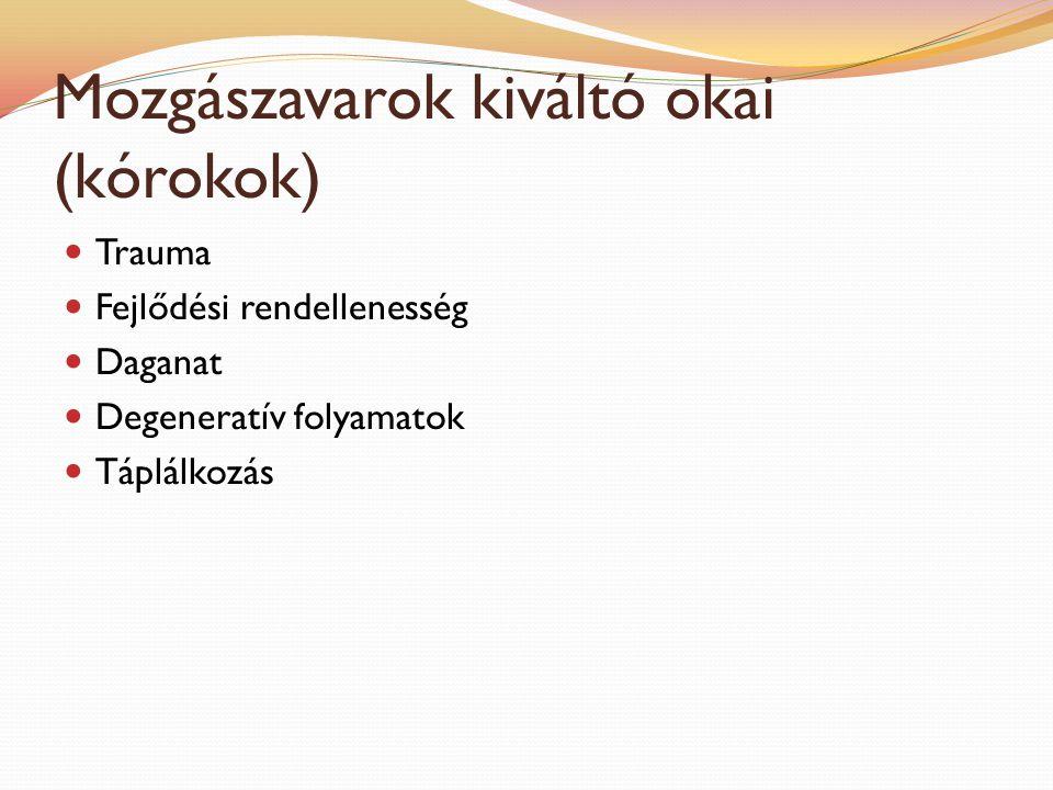 Mozgászavarok kiváltó okai (kórokok) Trauma Fejlődési rendellenesség Daganat Degeneratív folyamatok Táplálkozás