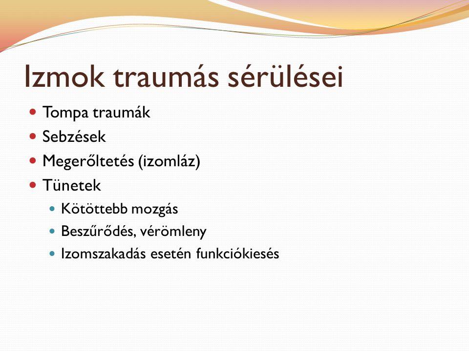 Izmok traumás sérülései Tompa traumák Sebzések Megerőltetés (izomláz) Tünetek Kötöttebb mozgás Beszűrődés, vérömleny Izomszakadás esetén funkciókiesés