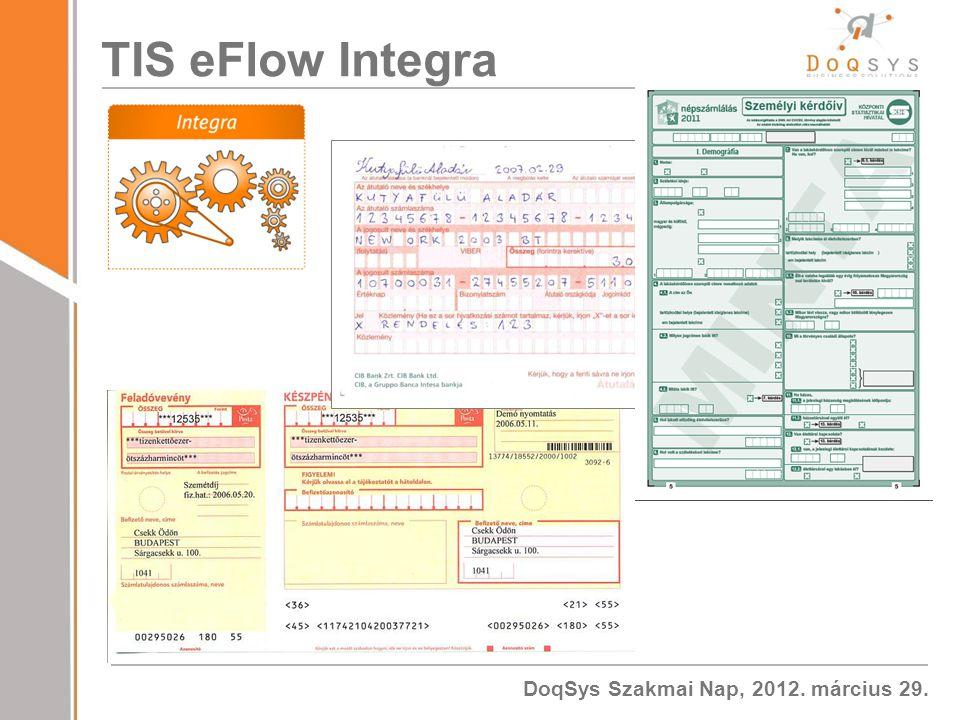 DoqSys Szakmai Nap, 2012. március 29. TIS eFlow Integra