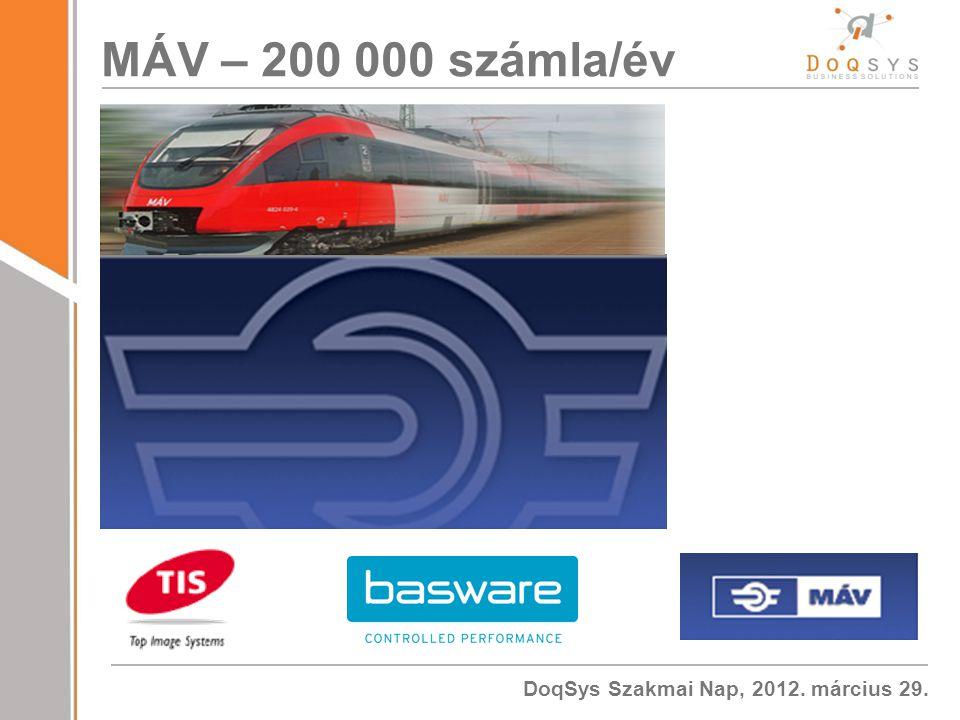 DoqSys Szakmai Nap, 2012. március 29. MÁV – 200 000 számla/év