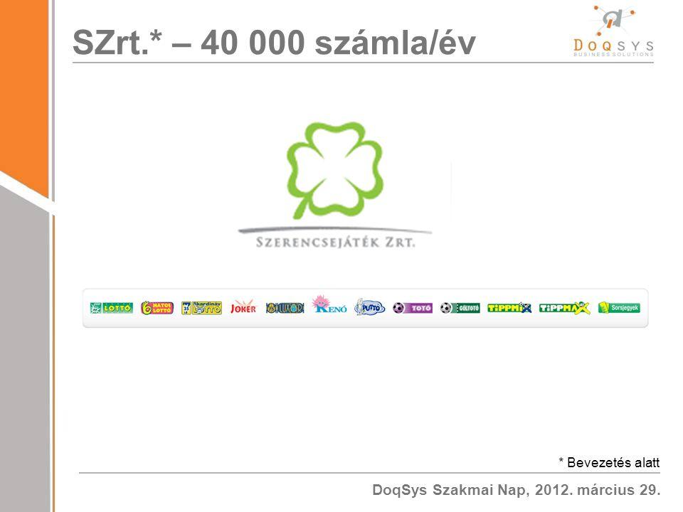 DoqSys Szakmai Nap, 2012. március 29. SZrt.* – 40 000 számla/év * Bevezetés alatt
