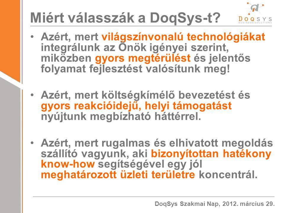 DoqSys Szakmai Nap, 2012.március 29. Miért válasszák a DoqSys-t.