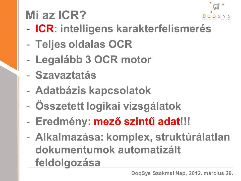 DoqSys Szakmai Nap, 2012.március 29. Mi az ICR.