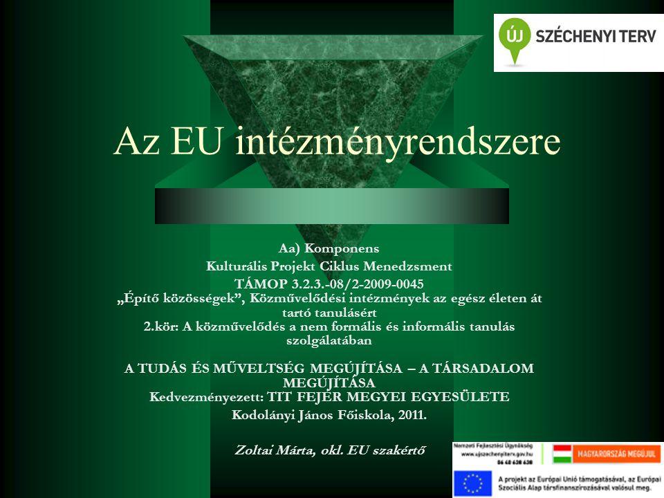 """Az EU intézményrendszere Aa) Komponens Kulturális Projekt Ciklus Menedzsment TÁMOP 3.2.3.-08/2-2009-0045 """"Építő közösségek"""", Közművelődési intézmények"""