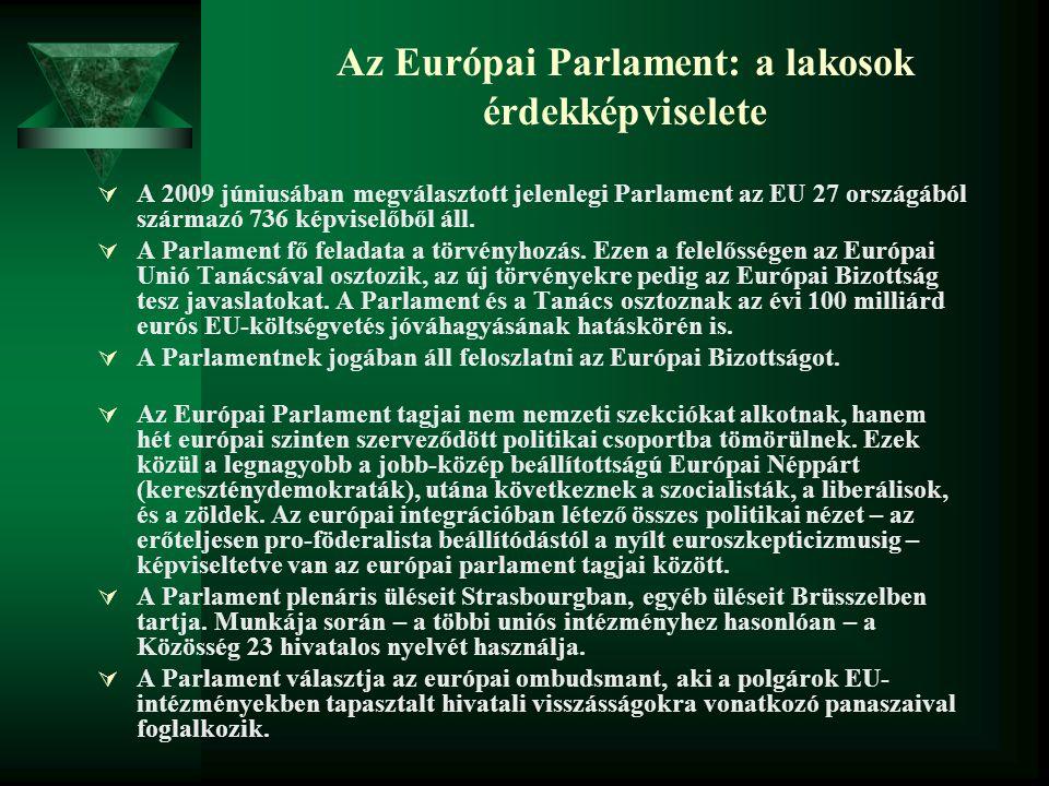 Az Európai Parlament: a lakosok érdekképviselete  A 2009 júniusában megválasztott jelenlegi Parlament az EU 27 országából származó 736 képviselőből á