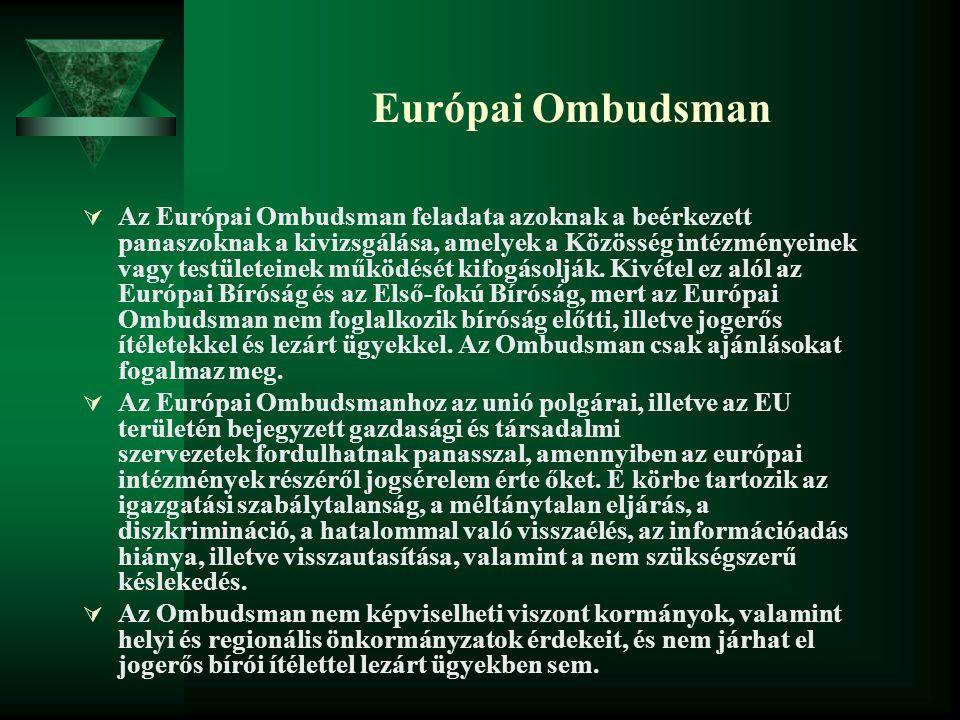 Európai Ombudsman  Az Európai Ombudsman feladata azoknak a beérkezett panaszoknak a kivizsgálása, amelyek a Közösség intézményeinek vagy testületeine