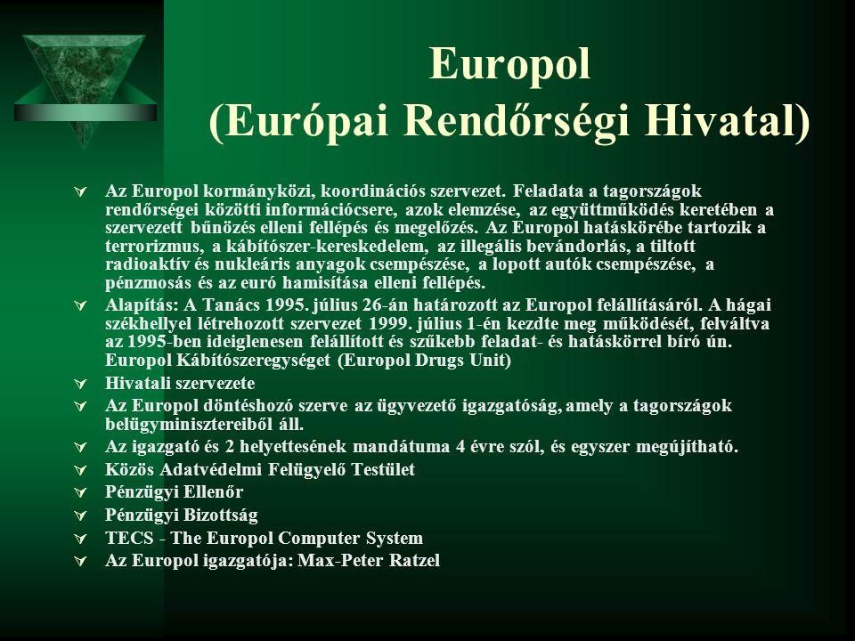 Europol (Európai Rendőrségi Hivatal)  Az Europol kormányközi, koordinációs szervezet. Feladata a tagországok rendőrségei közötti információcsere, azo