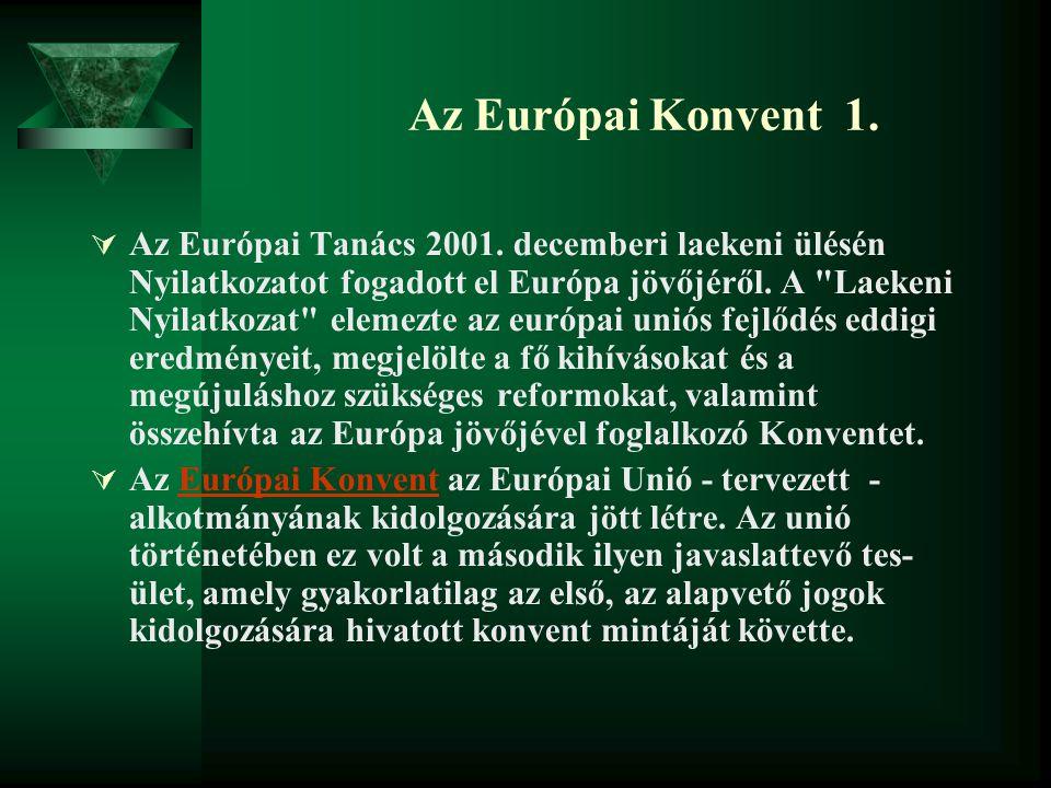 Az Európai Konvent 1.  Az Európai Tanács 2001. decemberi laekeni ülésén Nyilatkozatot fogadott el Európa jövőjéről. A