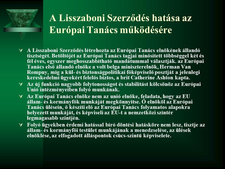 A Lisszaboni Szerződés hatása az Európai Tanács működésére  A Lisszaboni Szerződés létrehozta az Európai Tanács elnökének állandó tisztségét. Betöltő