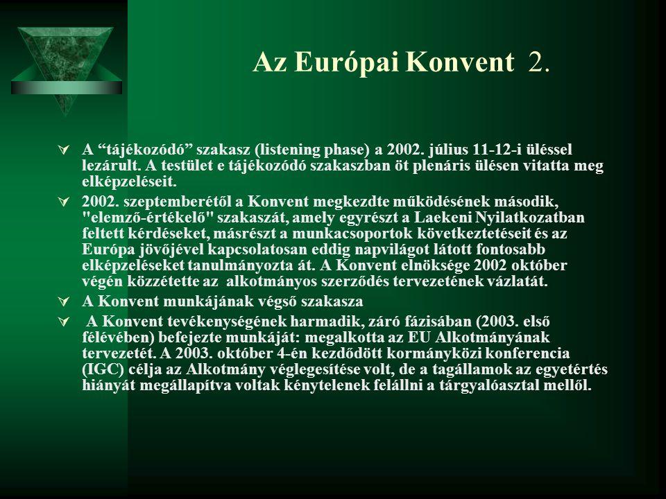 """Az Európai Konvent 2.  A """"tájékozódó"""" szakasz (listening phase) a 2002. július 11-12-i üléssel lezárult. A testület e tájékozódó szakaszban öt plenár"""