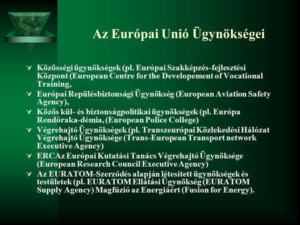 Az Európai Unió Ügynökségei  Közösségi ügynökségek (pl. Európai Szakképzés-fejlesztési Központ (European Centre for the Developement of Vocational Tr