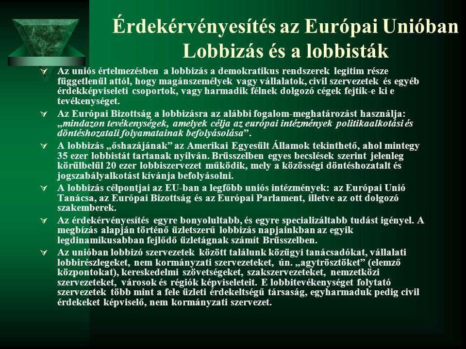Érdekérvényesítés az Európai Unióban Lobbizás és a lobbisták  Az uniós értelmezésben a lobbizás a demokratikus rendszerek legitim része függetlenül a