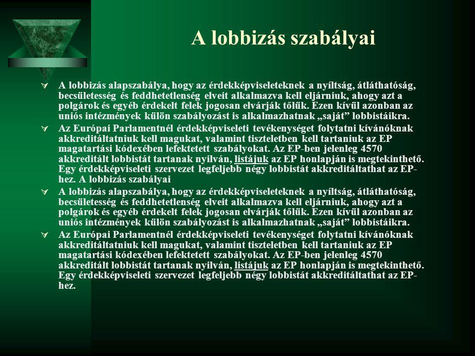 A lobbizás szabályai  A lobbizás alapszabálya, hogy az érdekképviseleteknek a nyíltság, átláthatóság, becsületesség és feddhetetlenség elveit alkalma