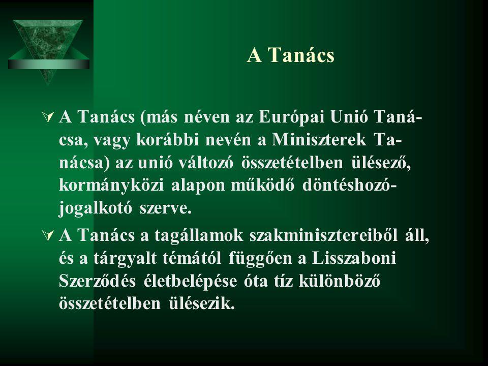 A Tanács  A Tanács (más néven az Európai Unió Taná- csa, vagy korábbi nevén a Miniszterek Ta- nácsa) az unió változó összetételben ülésező, kormánykö