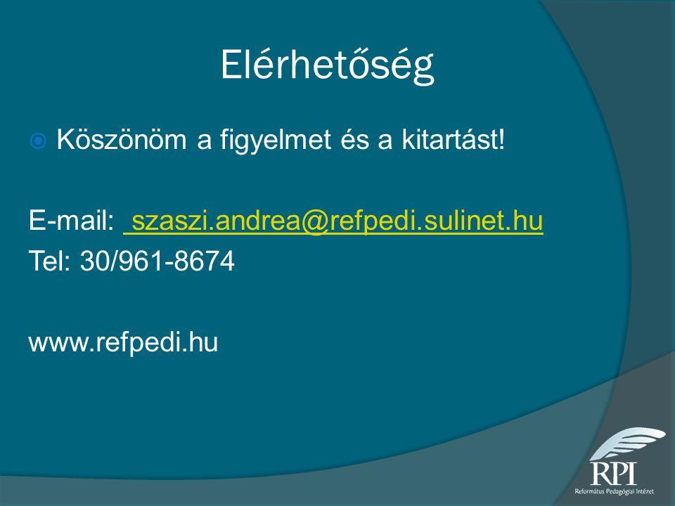 Elérhetőség  Köszönöm a figyelmet és a kitartást! E-mail: szaszi.andrea@refpedi.sulinet.hu szaszi.andrea@refpedi.sulinet.hu Tel: 30/961-8674 www.refp