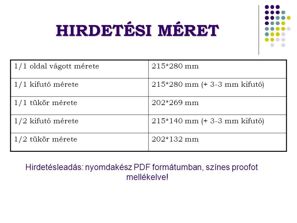 HIRDETÉSI MÉRET Hirdetésleadás: nyomdakész PDF formátumban, színes proofot mellékelve.