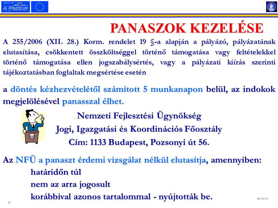 11 2014.09.18.PANASZOK KEZELÉSE A 255/2006 (XII. 28.) Korm.