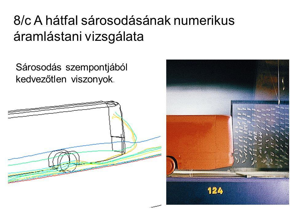 8/c A hátfal sárosodásának numerikus áramlástani vizsgálata Sárosodás szempontjából kedvezőtlen viszonyok.