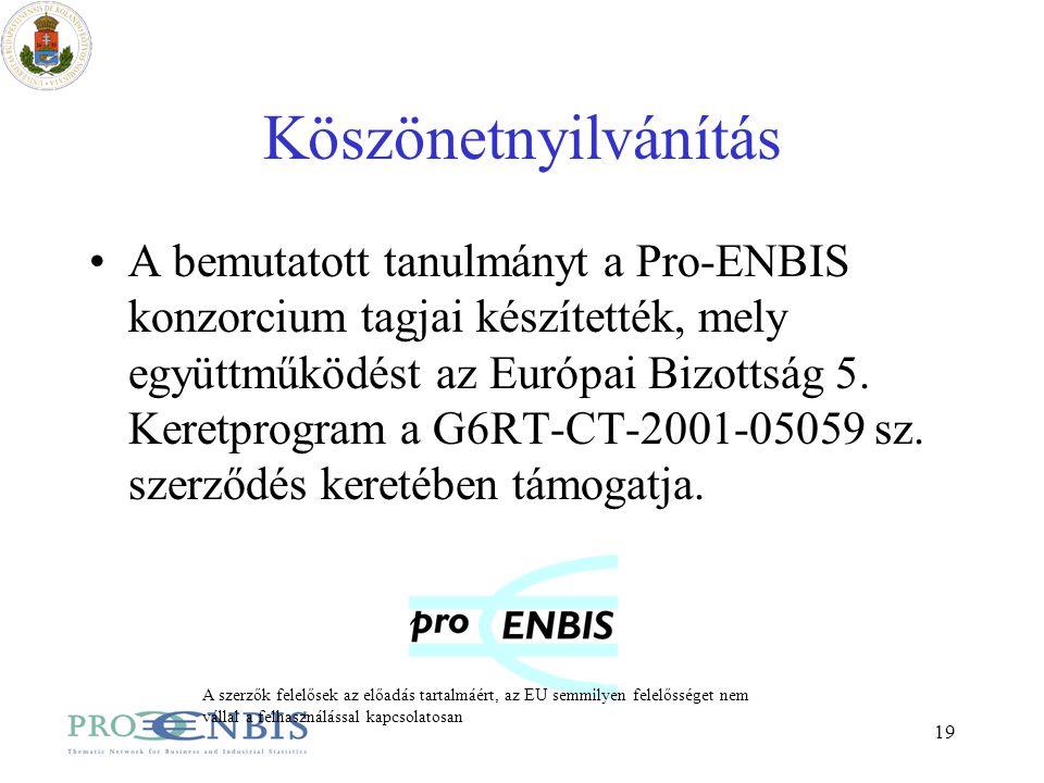 19 Köszönetnyilvánítás A bemutatott tanulmányt a Pro-ENBIS konzorcium tagjai készítették, mely együttműködést az Európai Bizottság 5. Keretprogram a G