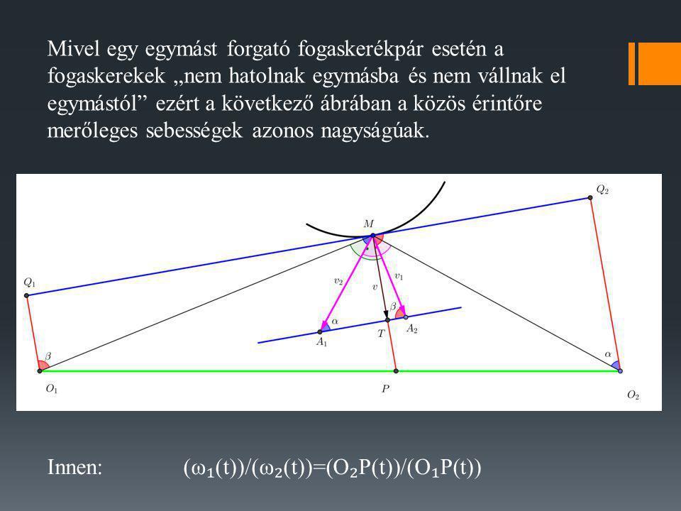 Megjegyzés Ha a hajtó fogaskerék állandó sebességgel forog, akkor a meghajtott fogaskerék sebessége állandó akkor és csak akkor, ha P(t) Az előző ábrán lévő P pont időbeni helye állandó.