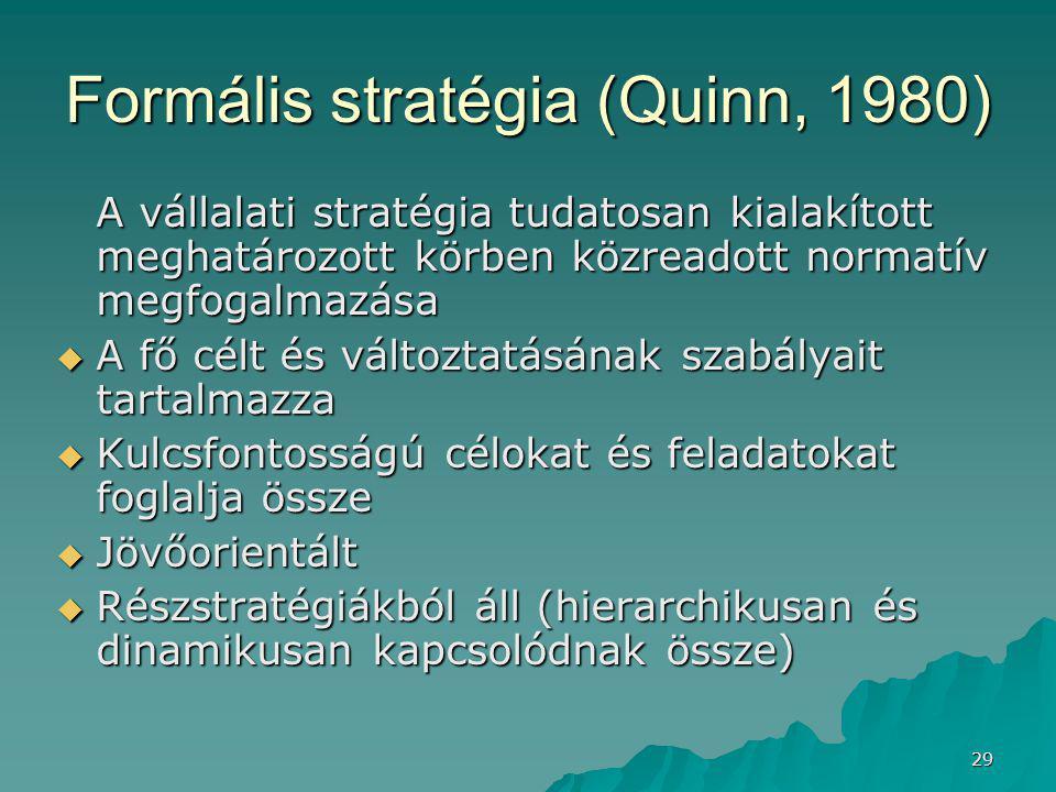 29 Formális stratégia (Quinn, 1980) A vállalati stratégia tudatosan kialakított meghatározott körben közreadott normatív megfogalmazása  A fő célt és változtatásának szabályait tartalmazza  Kulcsfontosságú célokat és feladatokat foglalja össze  Jövőorientált  Részstratégiákból áll (hierarchikusan és dinamikusan kapcsolódnak össze)