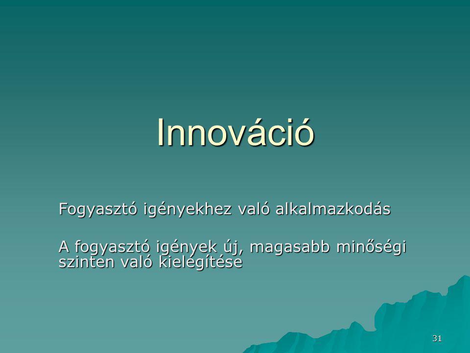 31 Innováció Fogyasztó igényekhez való alkalmazkodás A fogyasztó igények új, magasabb minőségi szinten való kielégítése