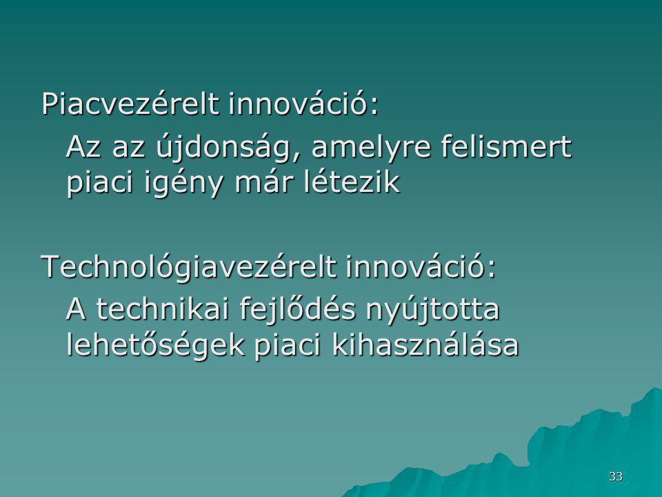 33 Piacvezérelt innováció: Az az újdonság, amelyre felismert piaci igény már létezik Technológiavezérelt innováció: A technikai fejlődés nyújtotta lehetőségek piaci kihasználása