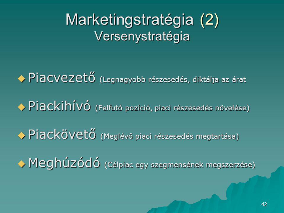 42 Marketingstratégia (2) Versenystratégia  Piacvezető (Legnagyobb részesedés, diktálja az árat  Piackihívó (Felfutó pozíció, piaci részesedés növelése)  Piackövető (Meglévő piaci részesedés megtartása)  Meghúzódó (Célpiac egy szegmensének megszerzése)