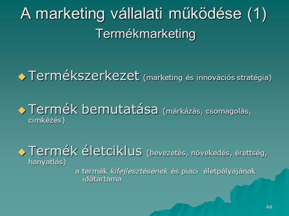 44 A marketing vállalati működése (1) Termékmarketing  Termékszerkezet (marketing és innovációs stratégia)  Termék bemutatása (márkázás, csomagolás, cimkézés)  Termék életciklus (bevezetés, növekedés, érettség, hanyatlás) a termék kifejlesztésének és piaci életpályájának időtartama
