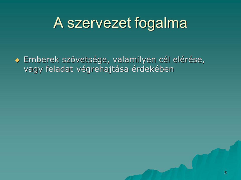 5 A szervezet fogalma  Emberek szövetsége, valamilyen cél elérése, vagy feladat végrehajtása érdekében