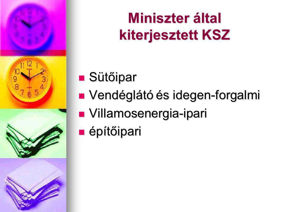 Miniszter által kiterjesztett KSZ Sütőipar Sütőipar Vendéglátó és idegen-forgalmi Vendéglátó és idegen-forgalmi Villamosenergia-ipari Villamosenergia-ipari építőipari építőipari