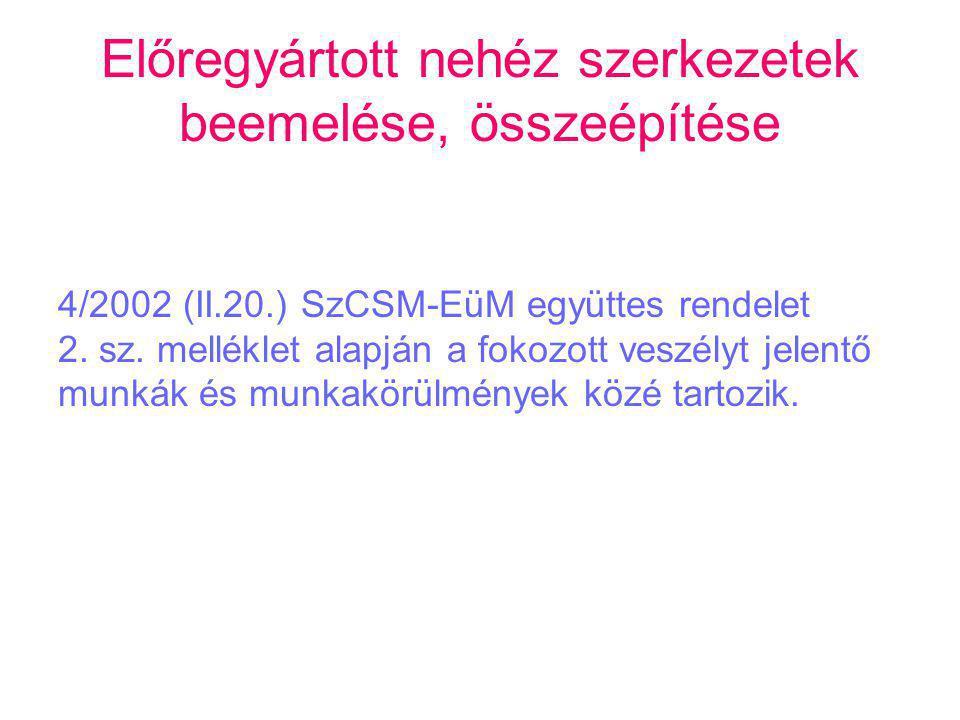 Előregyártott nehéz szerkezetek beemelése, összeépítése 4/2002 (II.20.) SzCSM-EüM együttes rendelet 2. sz. melléklet alapján a fokozott veszélyt jelen