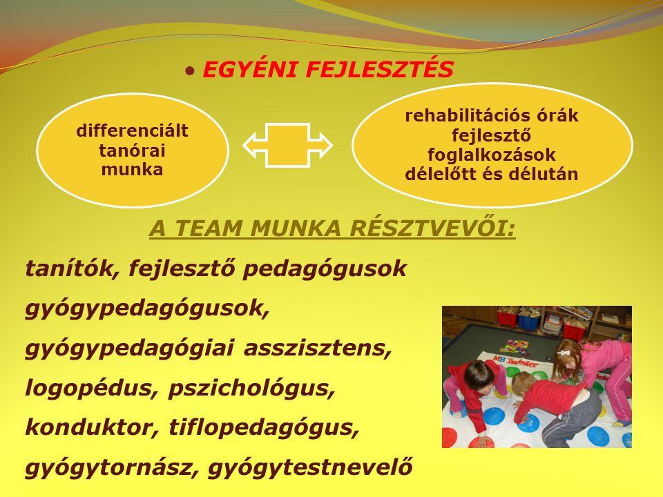 EGYÉNI FEJLESZTÉS A TEAM MUNKA RÉSZTVEVŐI: tanítók, fejlesztő pedagógusok gyógypedagógusok, gyógypedagógiai asszisztens, logopédus, pszichológus, konduktor, tiflopedagógus, gyógytornász, gyógytestnevelő differenciált tanórai munka rehabilitációs órák fejlesztő foglalkozások délelőtt és délután