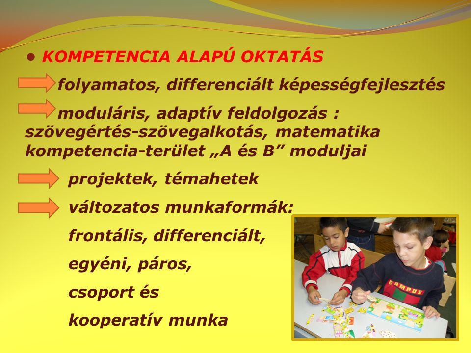 """KOMPETENCIA ALAPÚ OKTATÁS folyamatos, differenciált képességfejlesztés moduláris, adaptív feldolgozás : szövegértés-szövegalkotás, matematika kompetencia-terület """"A és B moduljai projektek, témahetek változatos munkaformák: frontális, differenciált, egyéni, páros, csoport és kooperatív munka"""