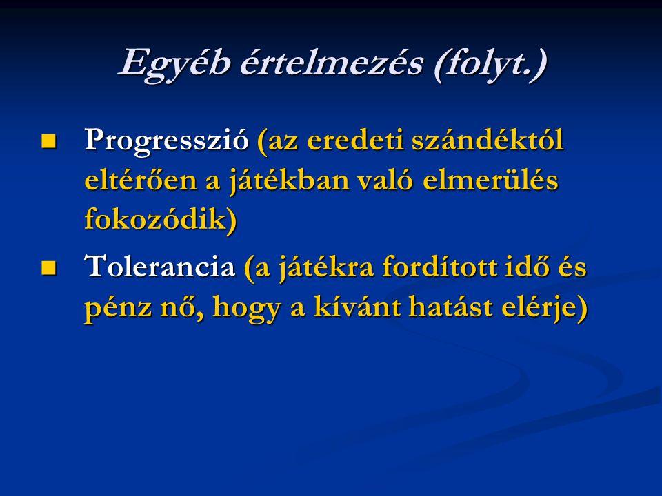 Egyéb értelmezés (folyt.) Progresszió (az eredeti szándéktól eltérően a játékban való elmerülés fokozódik) Progresszió (az eredeti szándéktól eltérően
