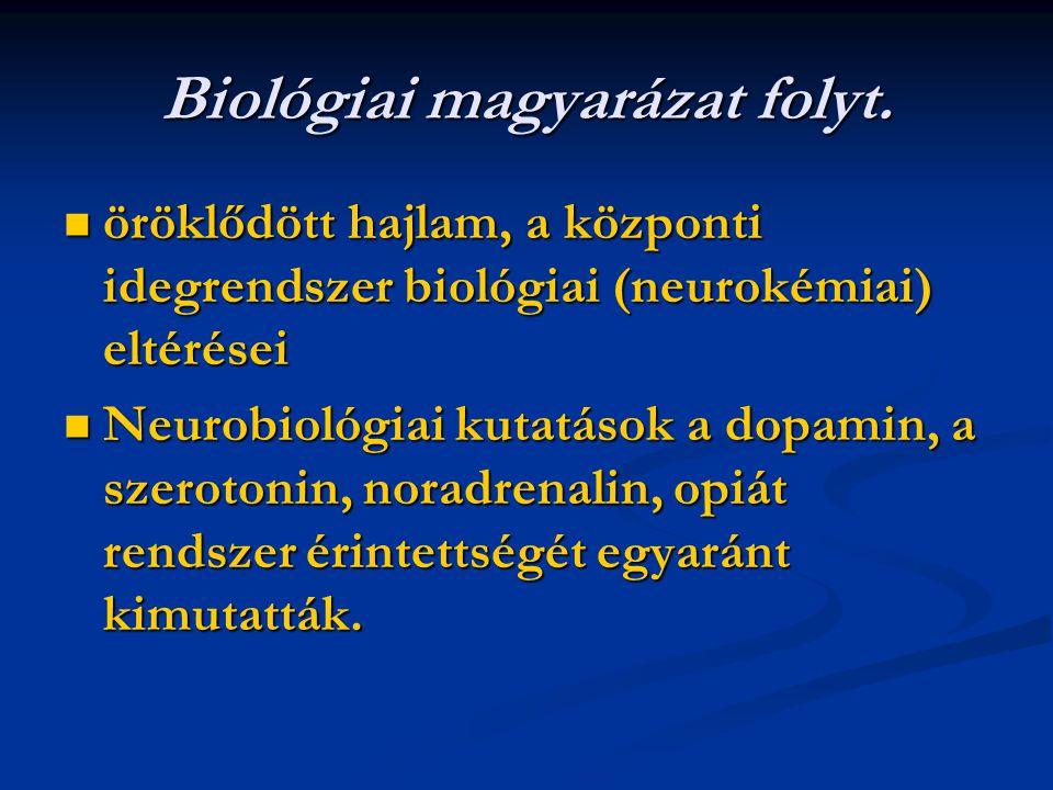 Biológiai magyarázat folyt. öröklődött hajlam, a központi idegrendszer biológiai (neurokémiai) eltérései öröklődött hajlam, a központi idegrendszer bi
