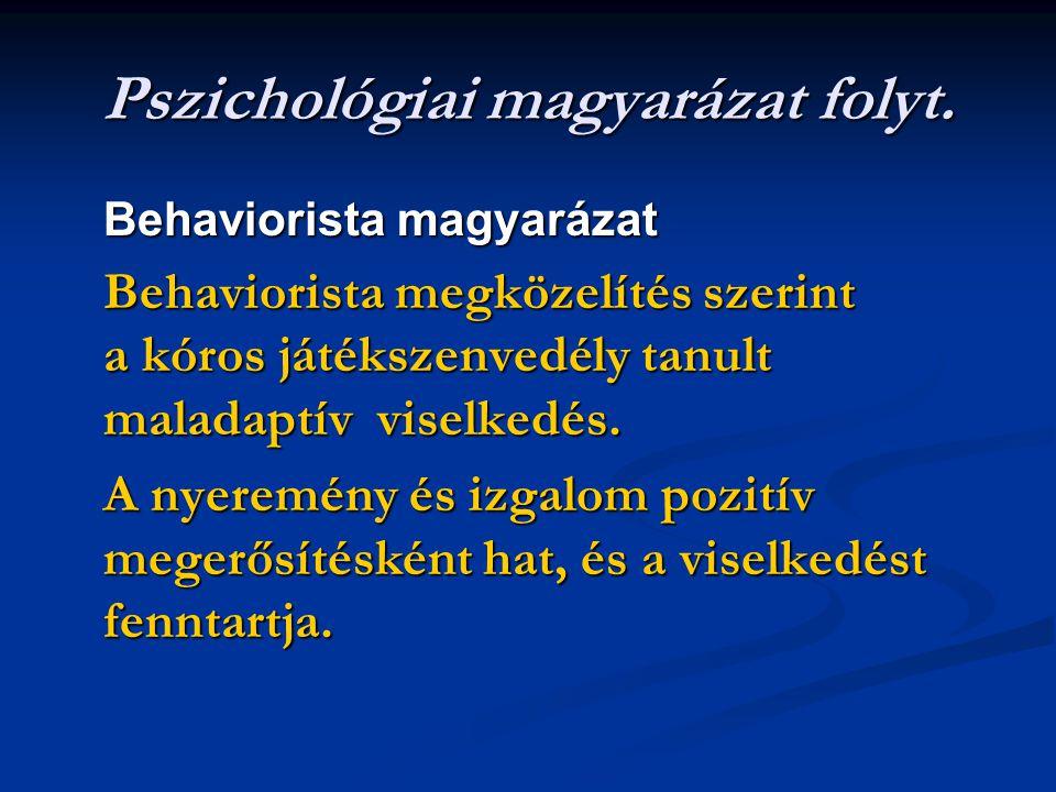 Pszichológiai magyarázat folyt. Behaviorista magyarázat Behaviorista megközelítés szerint a kóros játékszenvedély tanult maladaptív viselkedés. A nyer