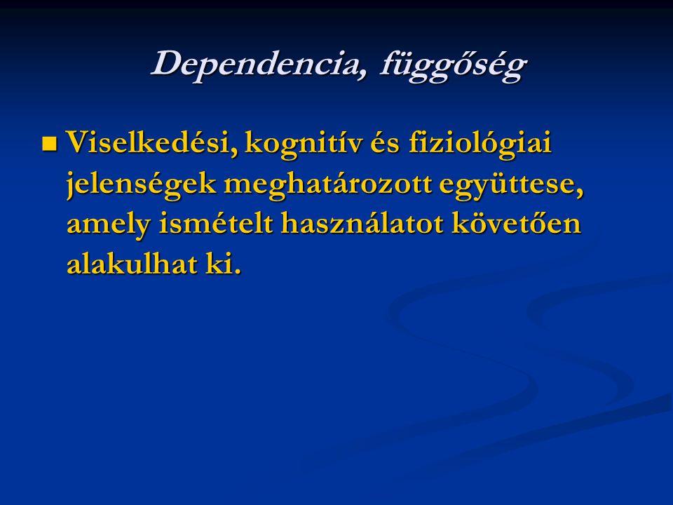 Dependencia, függőség Viselkedési, kognitív és fiziológiai jelenségek meghatározott együttese, amely ismételt használatot követően alakulhat ki. Visel
