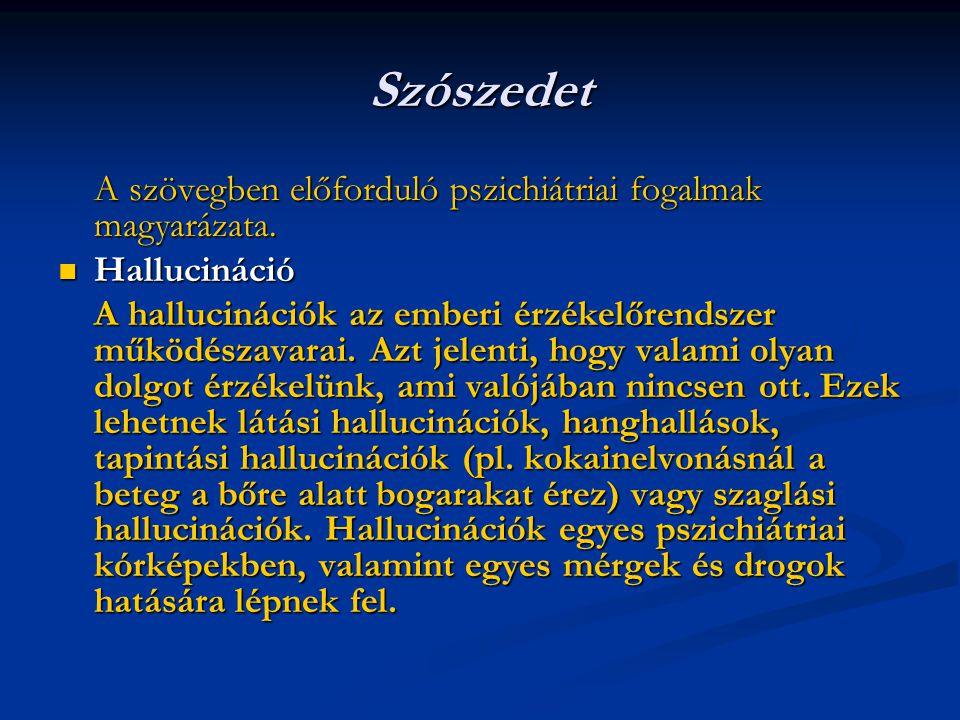 Szószedet A szövegben előforduló pszichiátriai fogalmak magyarázata. Hallucináció Hallucináció A hallucinációk az emberi érzékelőrendszer működészavar