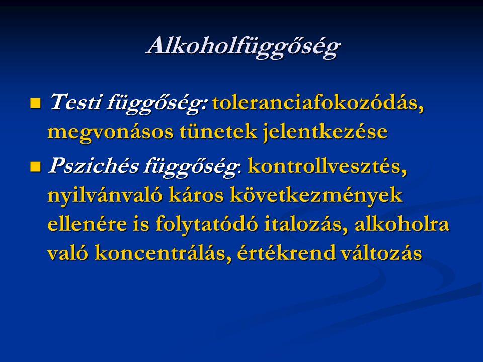 Alkoholfüggőség Testi függőség: toleranciafokozódás, megvonásos tünetek jelentkezése Testi függőség: toleranciafokozódás, megvonásos tünetek jelentkez