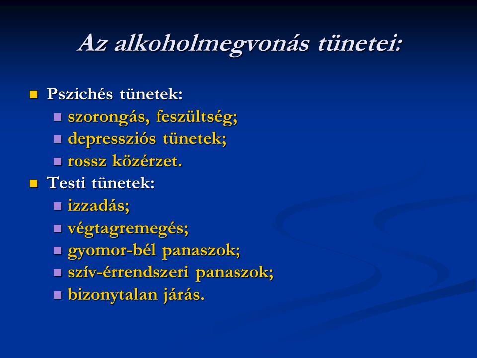 Az alkoholmegvonás tünetei: Pszichés tünetek: Pszichés tünetek: szorongás, feszültség; szorongás, feszültség; depressziós tünetek; depressziós tünetek