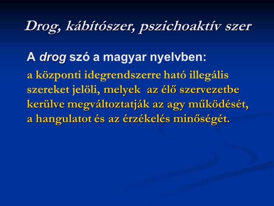 Drog, kábítószer, pszichoaktív szer A drog A drog szó a magyar nyelvben: melyek az élő szervezetbe kerülve megváltoztatják az agy működését, a hangula