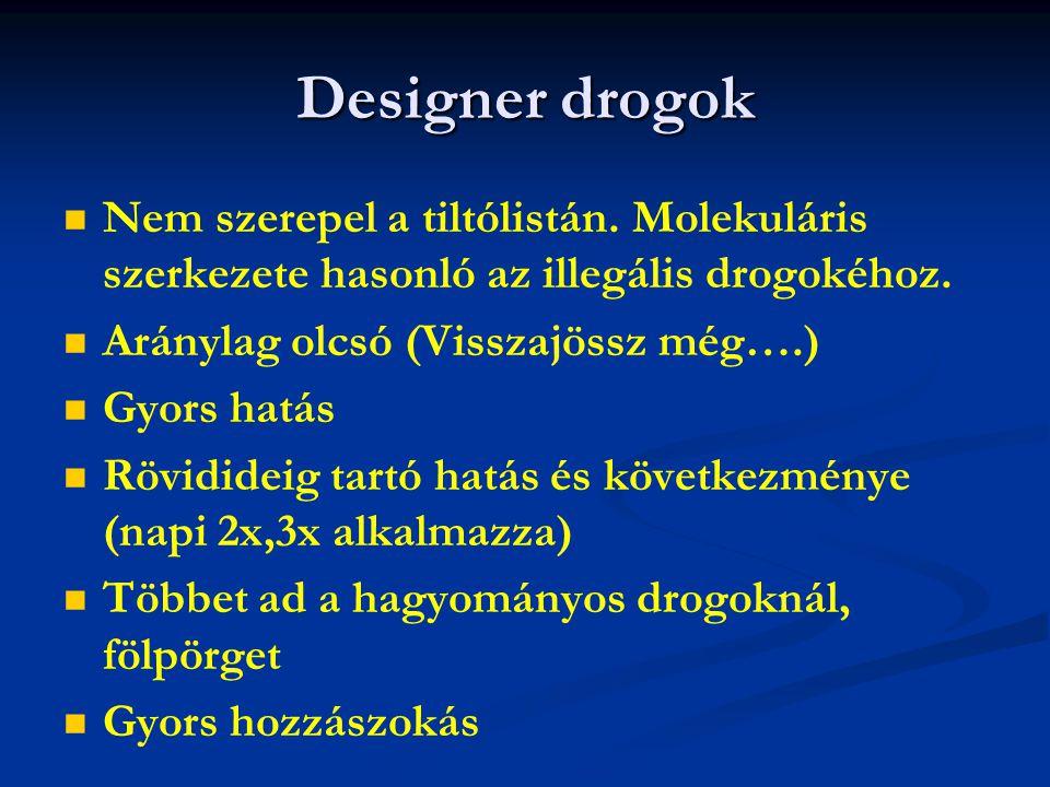 Designer drogok Nem szerepel a tiltólistán. Molekuláris szerkezete hasonló az illegális drogokéhoz. Aránylag olcsó (Visszajössz még….) Gyors hatás Röv