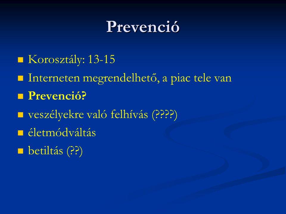 Prevenció Korosztály: 13-15 Interneten megrendelhető, a piac tele van Prevenció? veszélyekre való felhívás (????) életmódváltás betiltás (??)