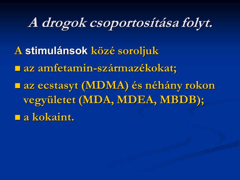 A drogok csoportosítása folyt. A stimulánsok közé soroljuk az amfetamin-származékokat; az amfetamin-származékokat; az ecstasyt (MDMA) és néhány rokon
