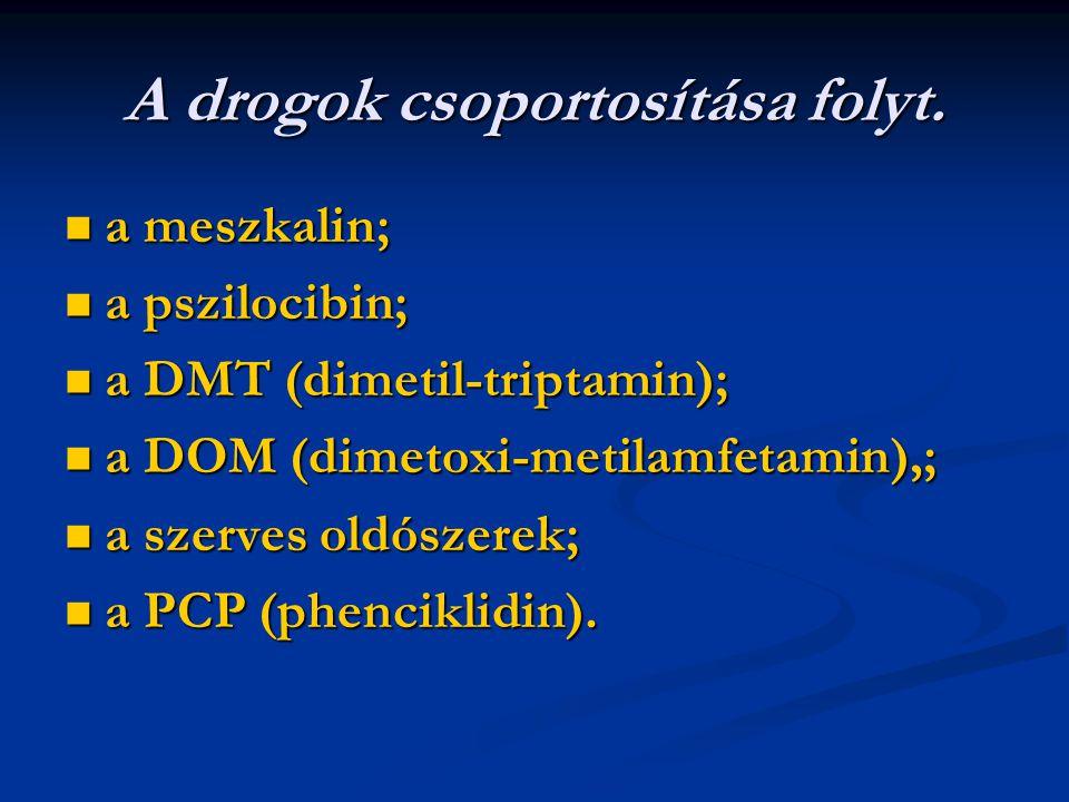 A drogok csoportosítása folyt. a meszkalin; a meszkalin; a pszilocibin; a pszilocibin; a DMT (dimetil-triptamin); a DMT (dimetil-triptamin); a DOM (di