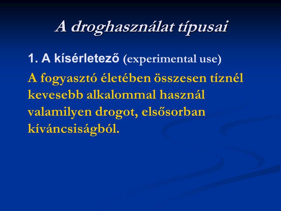 A droghasználat típusai 1. A kísérletező (experimental use) A fogyasztó életében összesen tíznél kevesebb alkalommal használ valamilyen drogot, elsőso
