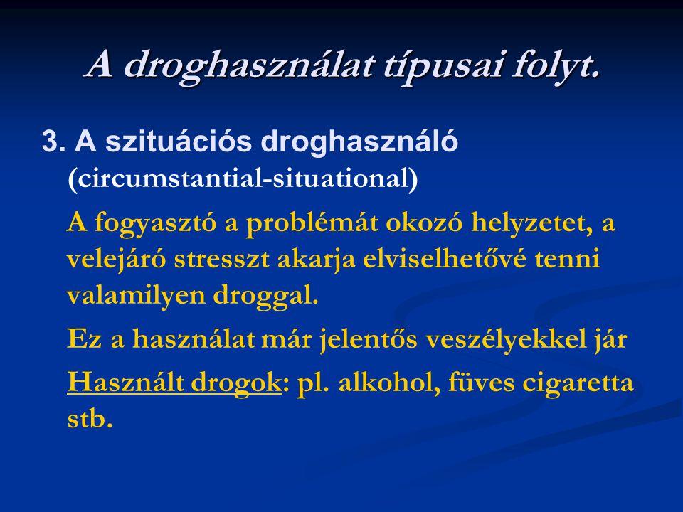 A droghasználat típusai folyt. 3. A szituációs droghasználó (circumstantial-situational) A fogyasztó a problémát okozó helyzetet, a velejáró stresszt