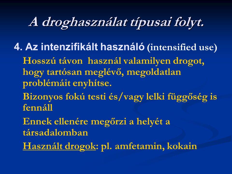 A droghasználat típusai folyt. 4. Az intenzifikált használó (intensified use) Hosszú távon használ valamilyen drogot, hogy tartósan meglévő, megoldatl